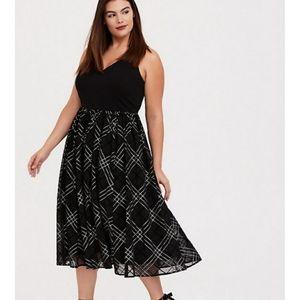 Black Plaid Midi Dress